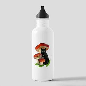 Black Cat Red Mushroom Stainless Water Bottle 1.0L