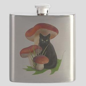 Black Cat Red Mushrooms Flask