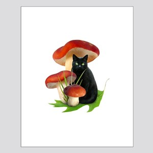 Black Cat Red Mushrooms Small Poster