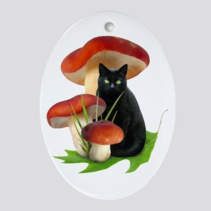 Black Cat Red Mushrooms Ornament (Oval)