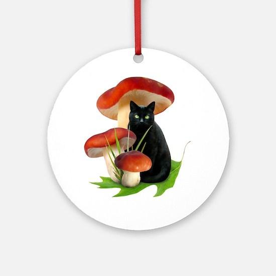 Black Cat Red Mushrooms Ornament (Round)