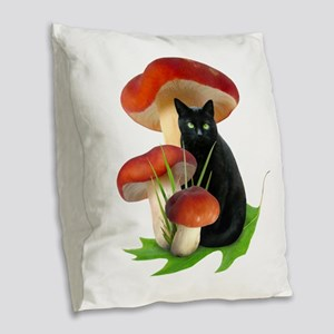 Black Cat Red Mushrooms Burlap Throw Pillow