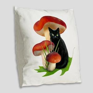 Black Cat Red Mushrooms Burlap Throw Pillow