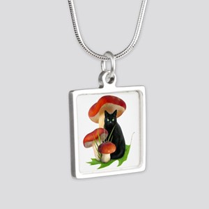 Black Cat Red Mushrooms Silver Square Necklace