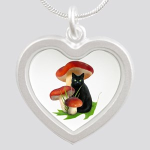 Black Cat Red Mushrooms Silver Heart Necklace