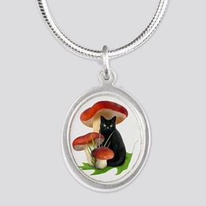 Black Cat Red Mushrooms Silver Oval Necklace