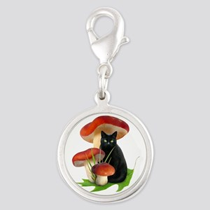 Black Cat Red Mushrooms Silver Round Charm