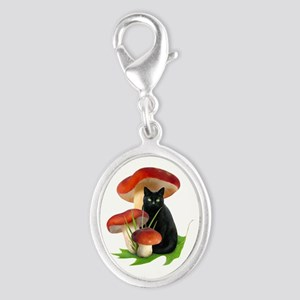 Black Cat Red Mushrooms Silver Oval Charm
