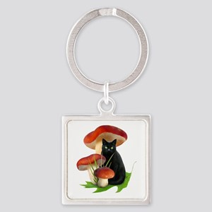 Black Cat Red Mushrooms Square Keychain