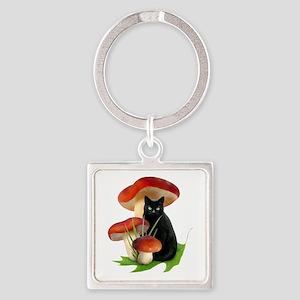 Black Cat Red Mushrooms Square Keychain