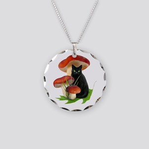 Black Cat Red Mushrooms Necklace Circle Charm