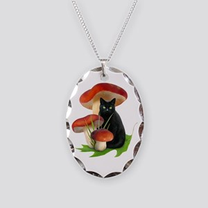 Black Cat Red Mushrooms Necklace Oval Charm