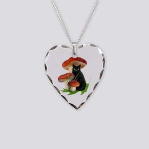 Black Cat Red Mushrooms Necklace Heart Charm