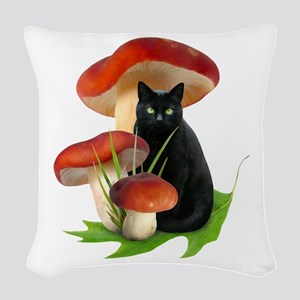 Black Cat Red Mushrooms Woven Throw Pillow