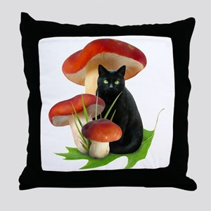 Black Cat Red Mushrooms Throw Pillow