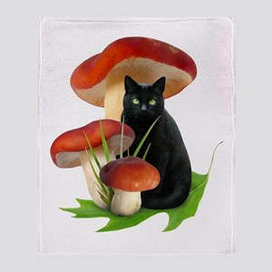 Black Cat Red Mushrooms Throw Blanket