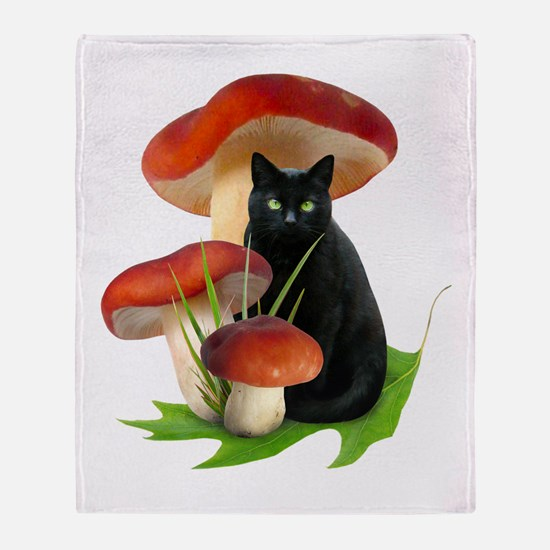 Black Cat Red Mushrooms Throw Blanket