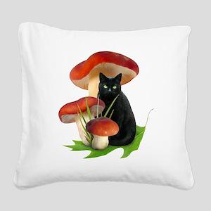 Black Cat Red Mushrooms Square Canvas Pillow