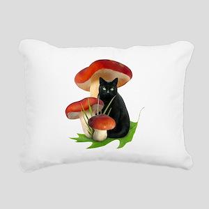 Black Cat Red Mushrooms Rectangular Canvas Pillow