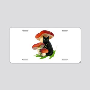Black Cat Red Mushrooms Aluminum License Plate