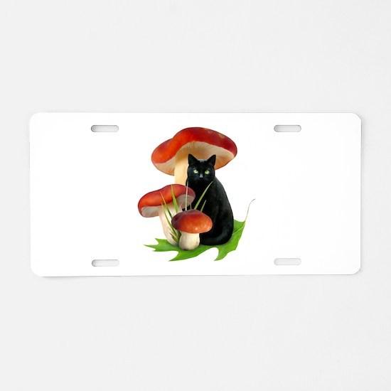 Black Cat Red Mushrooms Aluminum License Plate