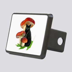Black Cat Red Mushrooms Rectangular Hitch Cover