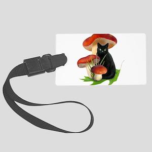 Black Cat Red Mushrooms Large Luggage Tag