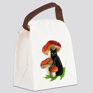 Black Cat Red Mushrooms Canvas Lunch Bag