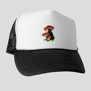 Black Cat Red Mushrooms Trucker Hat