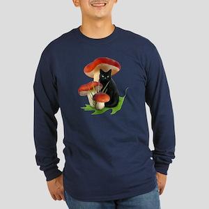 Black Cat Red Mushrooms Long Sleeve Dark T-Shirt