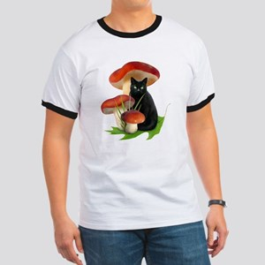 Black Cat Red Mushrooms Ringer T