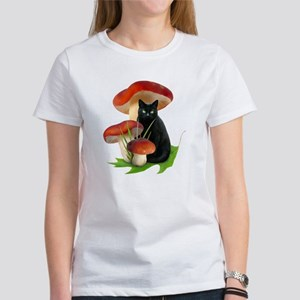 Black Cat Red Mushrooms Women's T-Shirt