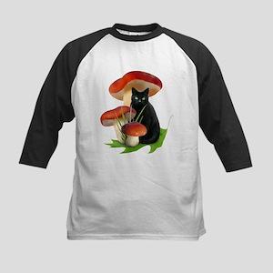 Black Cat Red Mushrooms Kids Baseball Jersey