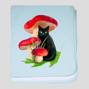 Black Cat Red Mushrooms baby blanket
