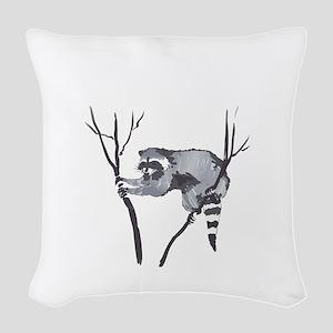 RACCOON IN TREE Woven Throw Pillow