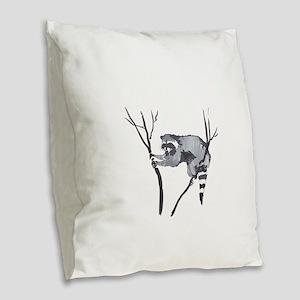 RACCOON IN TREE Burlap Throw Pillow