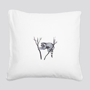 RACCOON IN TREE Square Canvas Pillow
