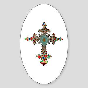 Jewel Cross Oval Sticker