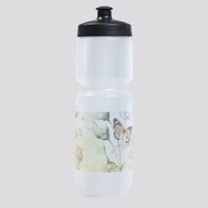 yellow roses and butterflies Sports Bottle
