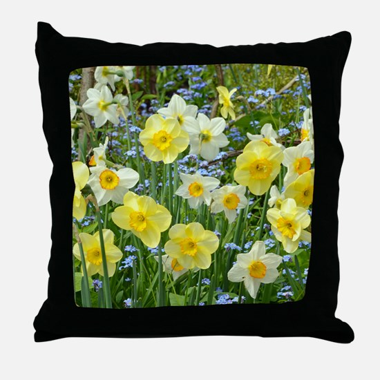 Yellow spring daffodils Throw Pillow