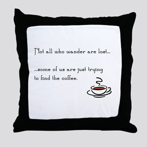 Wandering for Coffee Throw Pillow