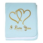 Entwined Gold Hearts baby blanket