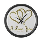 Entwined Gold Hearts Large Wall Clock