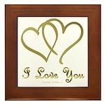 Entwined Gold Hearts Framed Tile