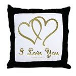 Entwined Gold Hearts Throw Pillow