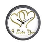 Entwined Gold Hearts Wall Clock