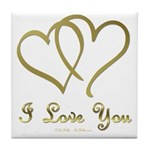 Entwined Gold Hearts Tile Coaster