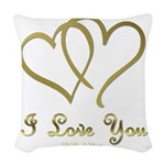 Entwined Gold Hearts Woven Throw Pillow