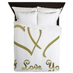 Entwined Gold Hearts Queen Duvet