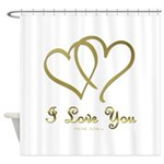 Entwined Gold Hearts Shower Curtain